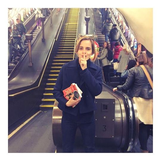 Emma Watson - I've been hiding copies of Mom & Me & Mom for @booksontheunderground on the tube today! See if you can find one tomorrow!  @oursharedshelf