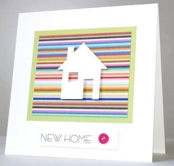 Thoughts of You Greetings Cards | Stripy New Home Handmade Card | Made by Hands of Britain