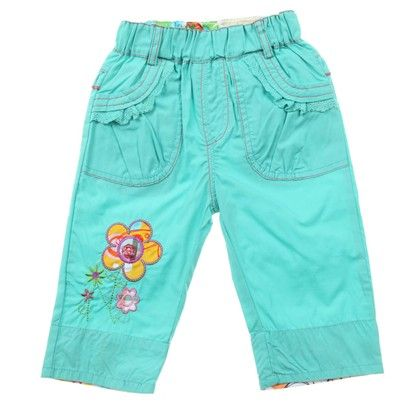 Aqua 3/4 Pants With Embroided Flower/Button On Leg-AJ53635Aqua-Aqua $15.00 on Ozsale.com.au