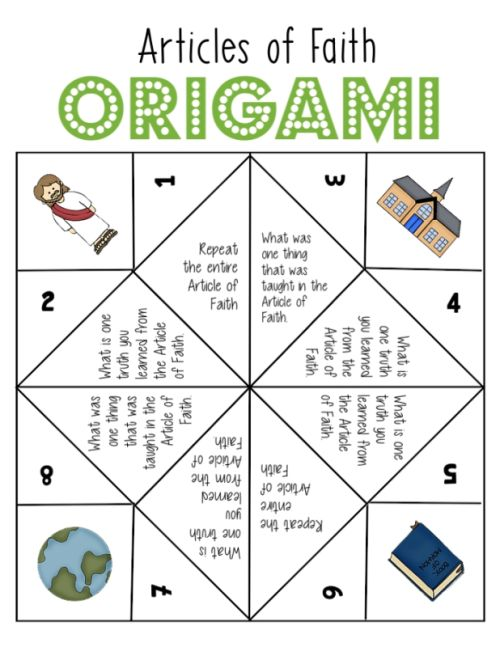 This is great! 4 weeks of activities to help memorize the Articles of Faith (Origami) Review