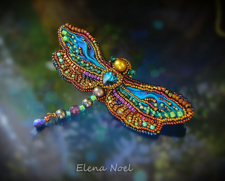 Summer dragonfly embroidered beaded brooch. Bead Embroidery Art by ElenNoel on Etsy https://www.etsy.com/listing/242228774/summer-dragonfly-embroidered-beaded