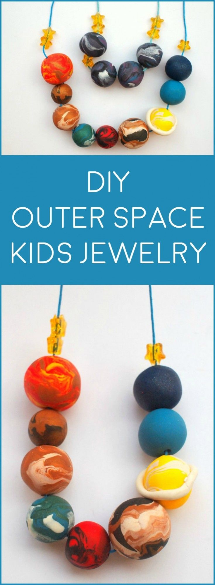 Are you looking for a kids jewelry project that's out-of-this-world fun? This strand of planets is made with clay - it's really easy to do! via @diy_candy