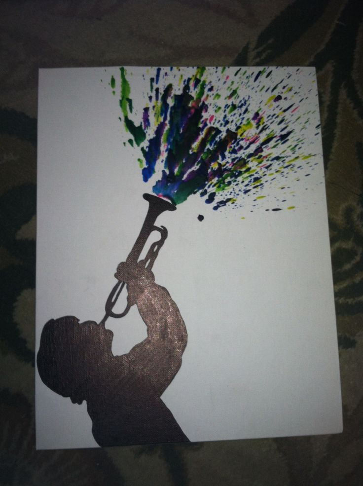 Trumpet crayon art. Perfect for my room, but with pink, light blue, purple and lime green