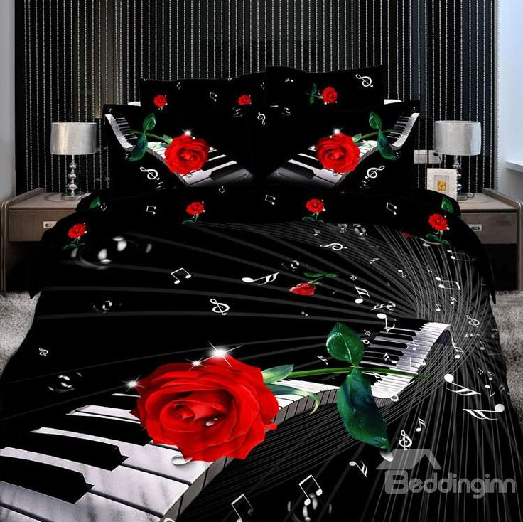 Elegant Piano with Red rose Print 4 Piece Bedding Sets/Comforter Sets