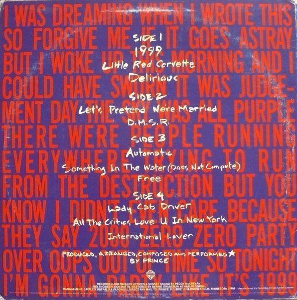 Prince 1999 album cover sleeve lyrics song list