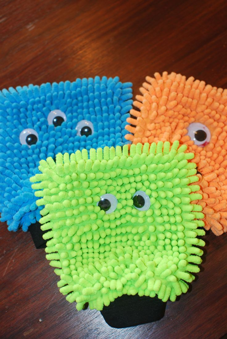monster hand puppets. I got these at the dollar store, and just added googly eyes.