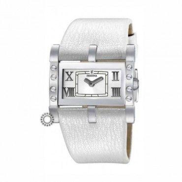 Γυναικείο ρολόι FESTINA με λευκό καντράν και λευκό δερμάτινο λουρί. Εγγύηση 2 ετών της επίσημης αντιπροσωπείας. F16361-1 #Festina #λευκο #δερμα #ρολοι
