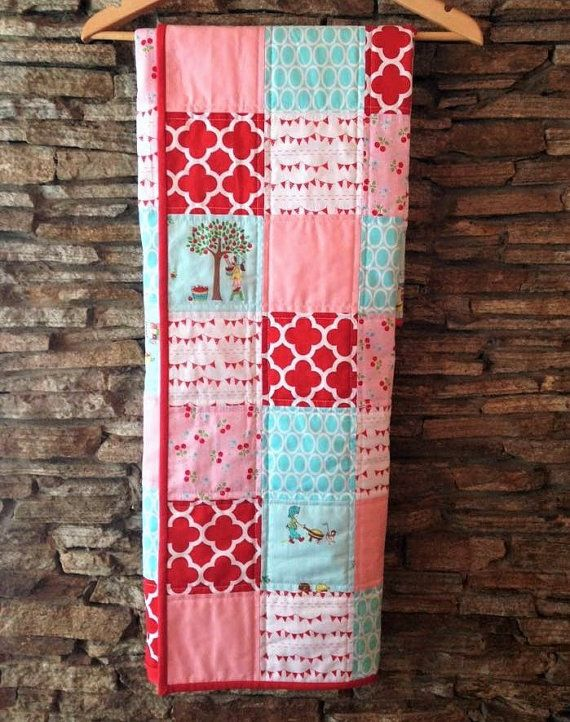 Hey, I found this really awesome Etsy listing at https://www.etsy.com/listing/263218510/modern-baby-quilt-baby-girl-pink-red-and
