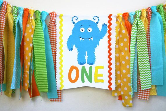 Monster 1st Birthday Highchair Banner Monster by MyLittleBoobug