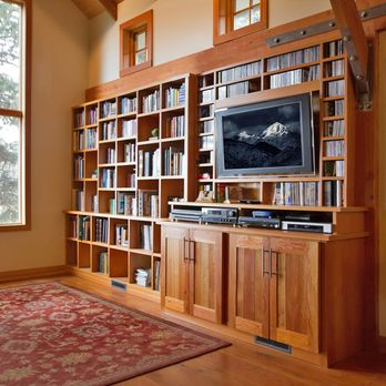 This modern-style bookcase pairs an entertainment center with a bookcase. Able to hold CDs, records, books, magazines, audio/video equipment, and a television, this bookcase turns a blank wall into a ton of storage. All of the designer's proceeds from the sale of this plan will be donated to Habitat for Humanity.