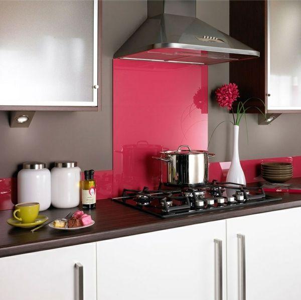 fliesenspiegel küche glas küchenrückwand spritzschutz küche glaswand pink