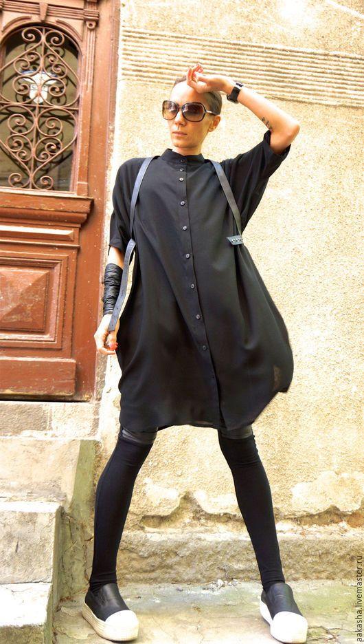 Черное платье на пуговицах свободный стиль городской стиль модное платье с рукавами свободны крой черная туника