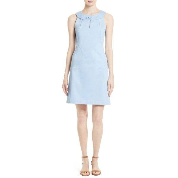 Women's Tory Burch Gerritt A-Line Dress ($195) ❤ liked on Polyvore featuring dresses, blue, ball dresses, polka dot a line dress, button dress, dot dress and a line dress