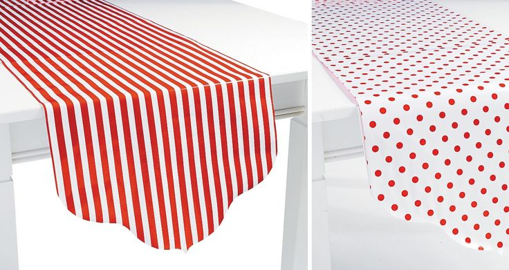 Red Reversible Table Runner (paper). Turn any table into a red themed feature with this paper table runner! Add vibrant colors to your next party. Red polka dots on one side, red & white stripes on the other. 229cm x 43cm; glossy paper. Price is per (1) one reversible table runner. Comes rolled up in a tube.