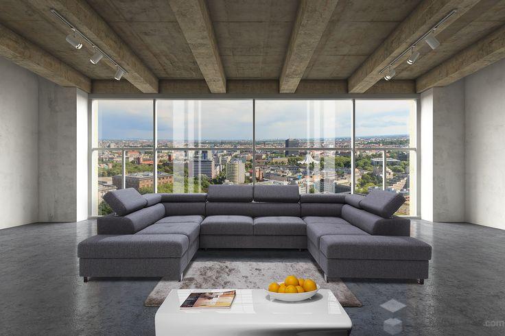 Duże okna i drewniany sufit | sofa Caya Design