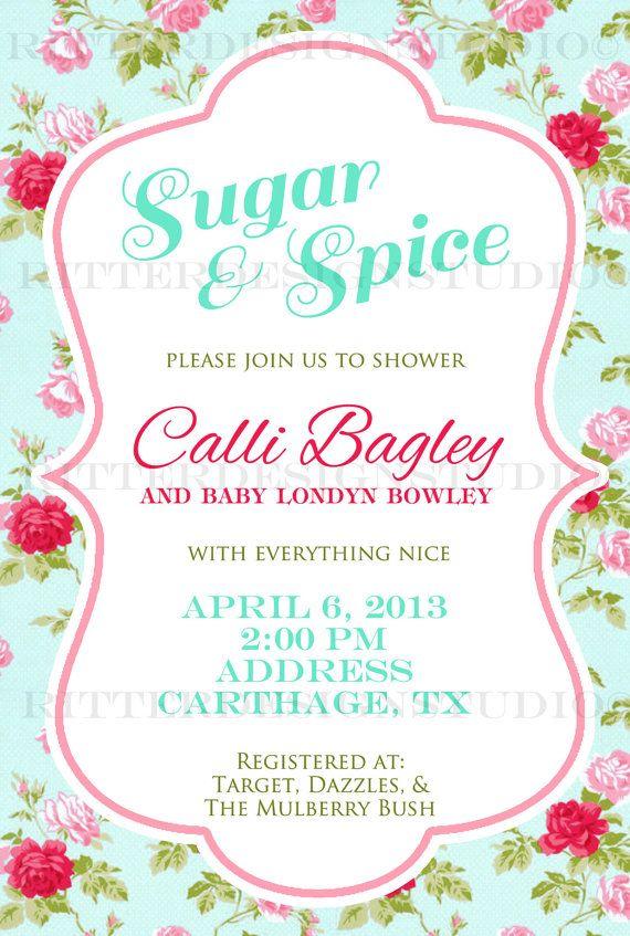 shabby chic flower baby shower invitation printable