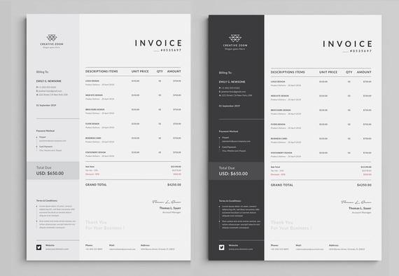 Invoice Template Business Invoice Receipt Printable Etsy In 2020 Invoice Template Printable Invoice Invoice Design