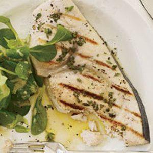 Zwaardvis- Italiaanse verse kruiden-olifolie-zwarte peper-zout-citroensap, zo simpel, zo lekker!!