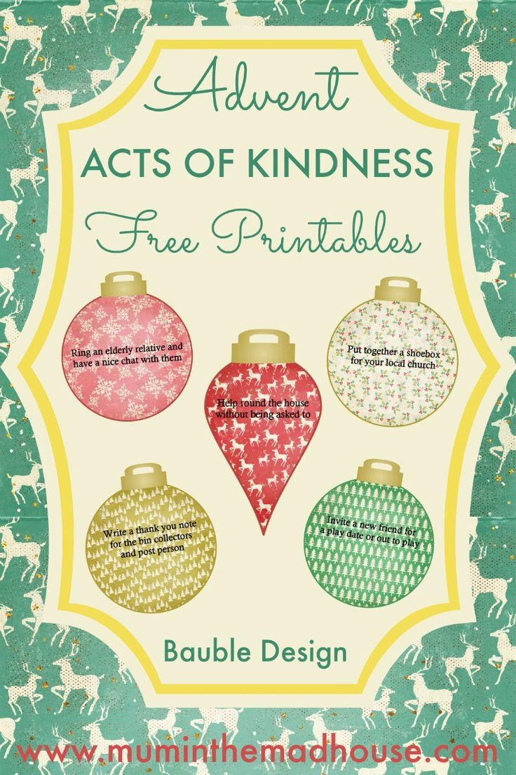 Free Advent Acts of Kindness Printable - 2016 Design Advent acts of kindness free printables in the shape of Christmas Baubles. These are perfect for printing and adding to advent calendars