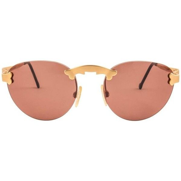 Preowned New Vintage Karl Lagerfeld Rimless Gold Amber 80's Germany... ($799) ❤ liked on Polyvore featuring accessories, eyewear, sunglasses, brown, baroque sunglasses, sports glasses, sport glasses, karl lagerfeld sunglasses and vintage sunglasses