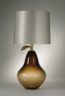 Glass Pear Lamp, Umber with Gold Leaf - Porta Romana