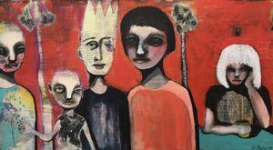 """Painting by Norwegian artist Kari Anne Marstein. See it at Purenkel art gallery in Oslo (Grunerløkka)   Title: """"Omsorg"""" 180x100 cm."""