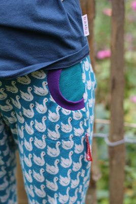 Swan jacquard fabric.  #diy #sewing #fabric #swan #petrol http://shop.by-bora.com designed by bora -- Deborah van de Leijgraaf