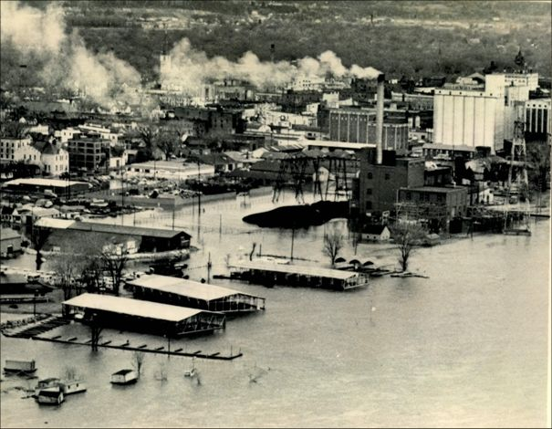 On April 16th, flood waters advance on Winona, MN.  An elaborate nine-mile dike system was built to protect the major businesses and residential areas of the city.  Source:  Chicago Sun Times