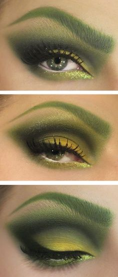 Poison Ivy Costume make up. #makeup Repin by Ellesilk.com Add red eyeliner on eyebrow and under lid