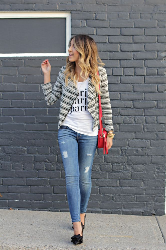 graphic tee, moto jacket, distressed jeans, & heels #fallfashion