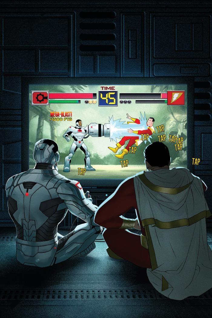 Justice League Variant Cover: Cyborg versus Captain Marvel ... uh ... ception.