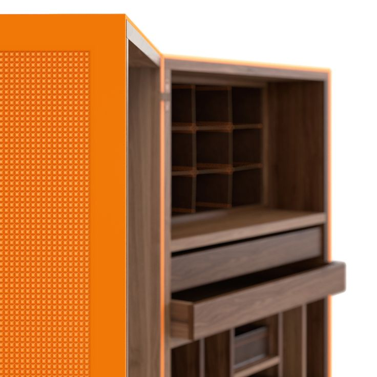 Huxley - Lak Collection #engravings #laqueur #travel #trunk #design #interior #color #orange #tailormade