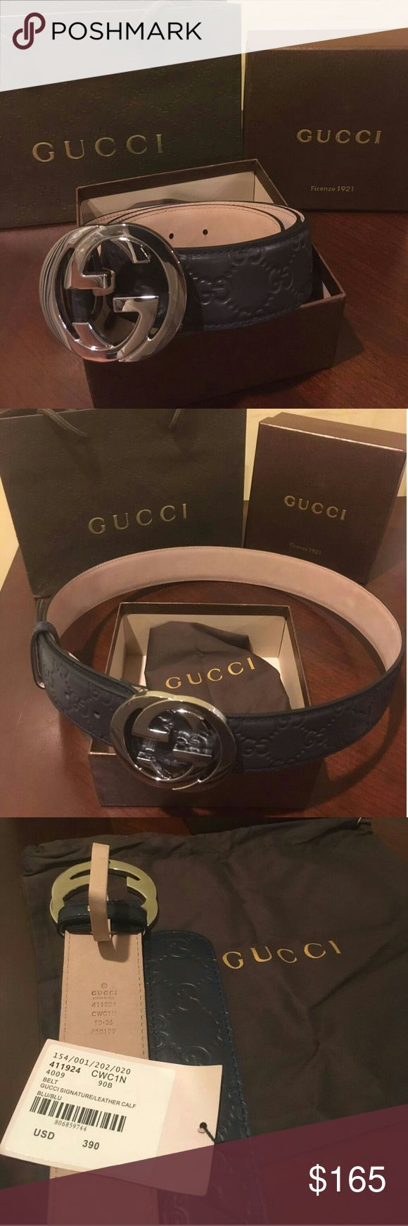 NWT NEW DARK BLUE GUCCI SIGNATURE LEATHER BELT 🔥 100% authentic Gucci belt 🔥 🔥 Dark blue leather belt 🔥 🔥 Interlocking G Silver Buckle 🔥 🔥 Made in a defined print and firm texture 🔥 🔥 Nickel hardware 🔥 🔥 Comes with dust bag, original tags, Gucci box 🔥 🔥 Fast shipping 24hrs 🔥 🔥 Message me for any more sizes 🔥 Gucci Accessories Belts