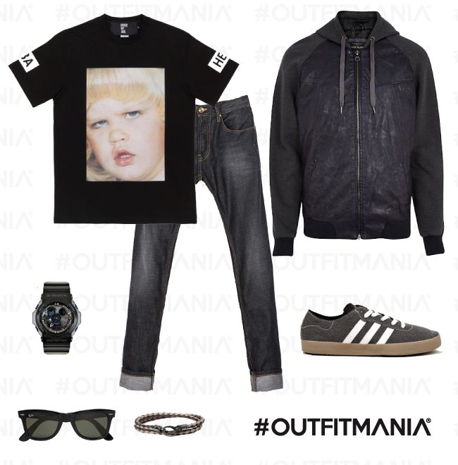 look MINIMAL for a shopping - free time - t shirt large size black - jeans very cool - snearkes adidas - www.outfitmania.it