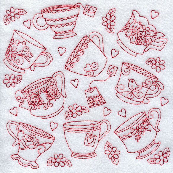 Teacups And Teapots Two Different Redwork Embroidered