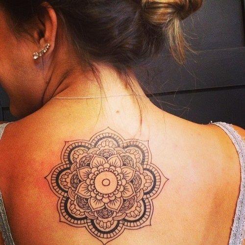 Mandala on upper back tattoo - http://99tattoodesigns.com/mandala-upper-back-tattoo/ @danizimmerman