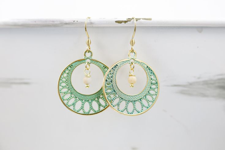 Patina and Gold Bohemian Round Charm Earrings / Gold Color Stainless Steel Findings by BeautyfromashesUSA on Etsy https://www.etsy.com/listing/549120438/patina-and-gold-bohemian-round-charm