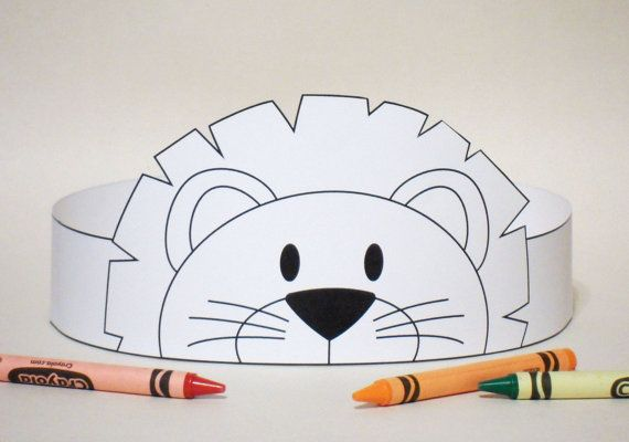 Lion Paper Crown COLOR YOUR OWN - Printable