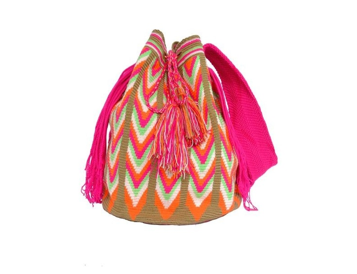 Wayuu Mochilas are hand-woven by women of the Wayuu tribe, a nomadic people who reside in the Guajira region between Colombia and Venezuela. Each mochila is made by a different woman and it takes her approximately one month to complete.