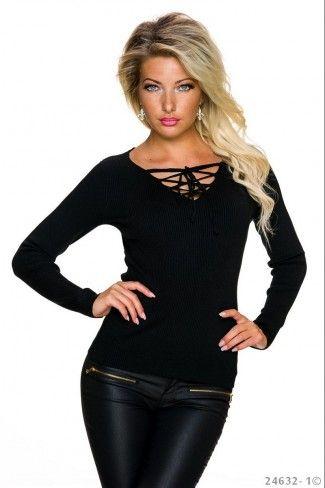 Μονόχρωμο πουλόβερ με rib πλέξη - Μαύρο
