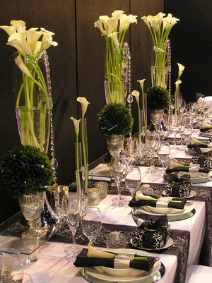 Beautiful black, white and cream table setting by Red Pebble Event Design