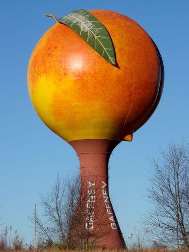 Peach water tower Gaffney South carolina