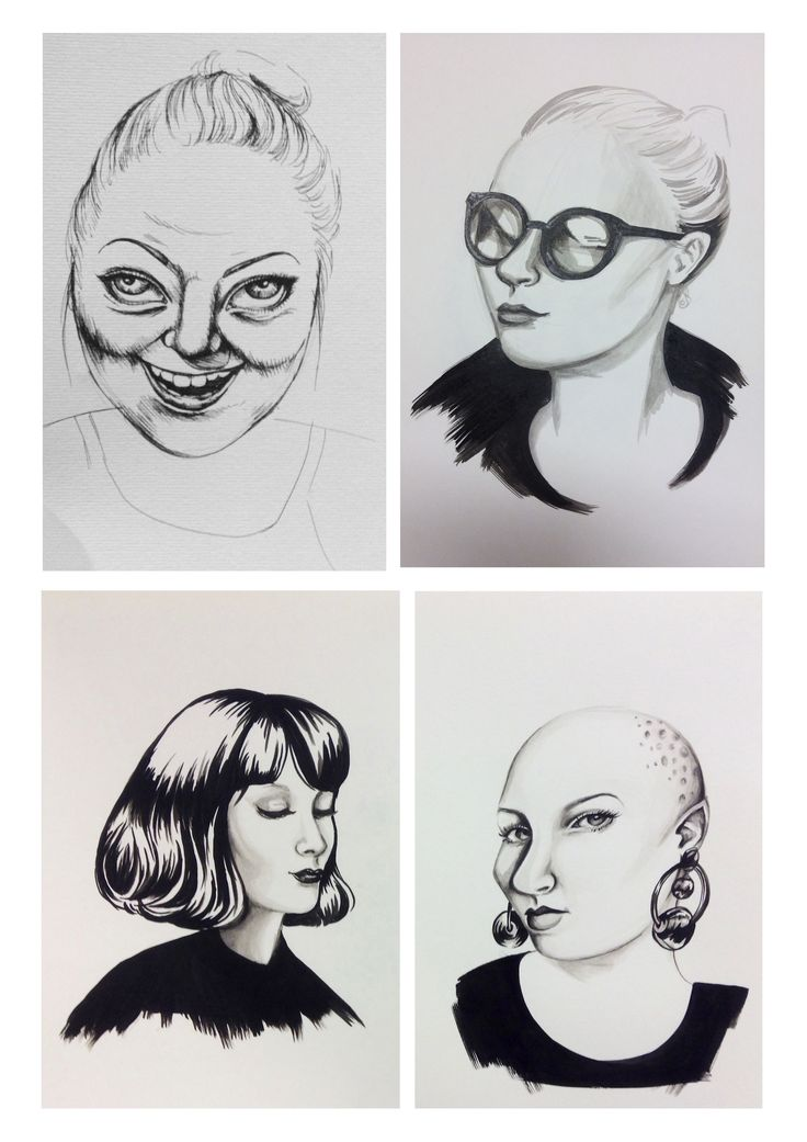 Task 8 - Portraiture - Drawings based on collected imagery (photographs)