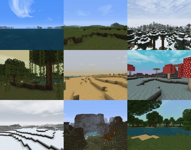 Misa's Realistic Texture Pack for #Minecraft - (64X64) - A collage of screens to showcase the new biome atmospheric diversity.
