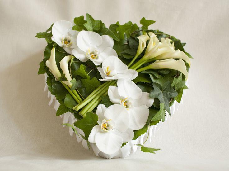 Orchid Heart Funeral Floral Arrangement
