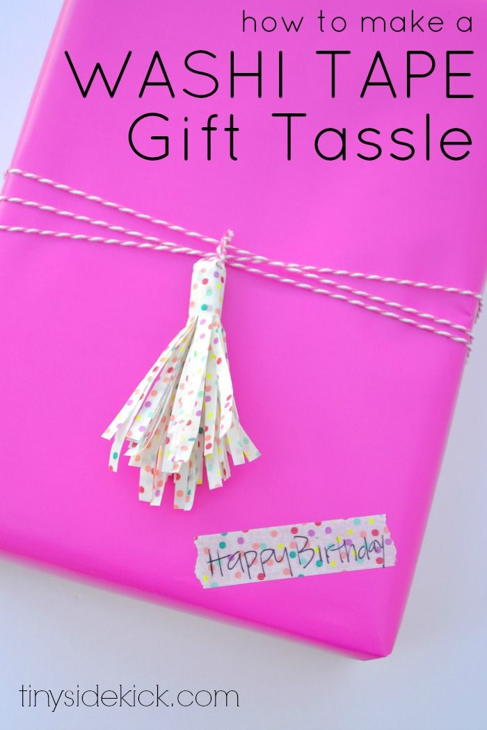 DIY Washi Tape Gift Tassle- Washi tape comes in so many fun prints and can make gift wrap extra special.