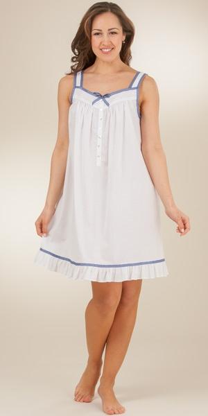 Sleeveless Eileen West 100% Cotton Lawn Short Nightgown - Seaside Gingham