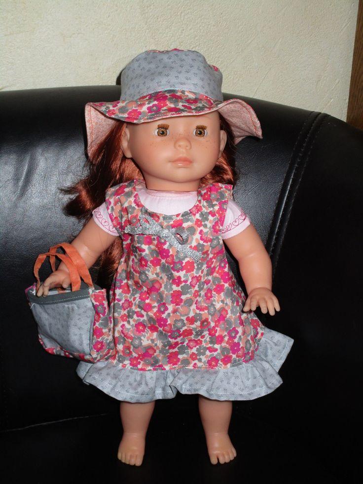vêtement poupée 36 cm ma corolle robe liberty, chapeau et sac : Jeux, jouets par missblue