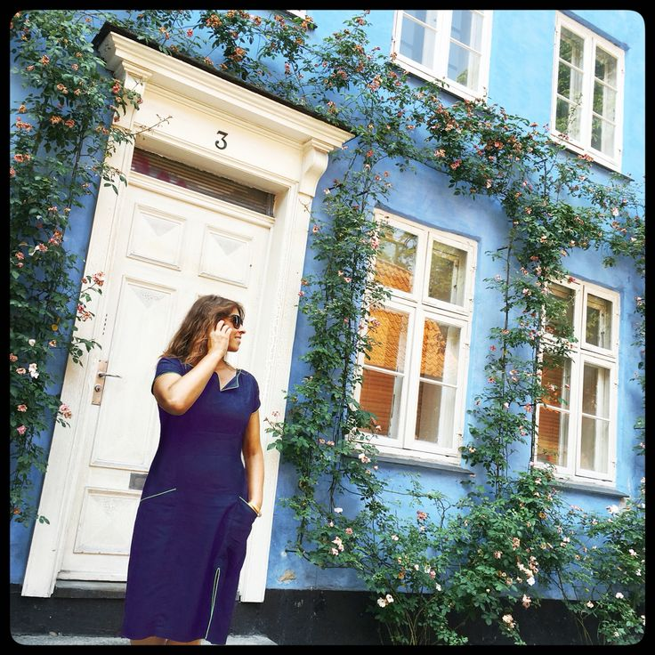 """Feeling Blue - back in the old streets of Copenhagen in my Blue """"Connie"""" dress. check it out on the webshop:"""