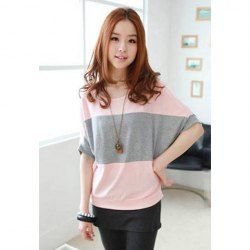$5.56 Loose-Fitting Batwing Stripe Pattern Color Block Women's Cotton T-Shirt